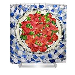 Sweet Strawberries Shower Curtain by Janet Immordino