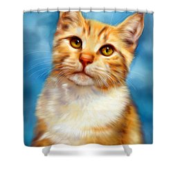 Sweet William Orange Tabby Cat Painting Shower Curtain