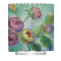 Shower Curtain featuring the painting Sweetness Floral Painting by Mary Wolf