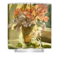 Sweetpea On The Windowsill Shower Curtain by Julia Rowntree