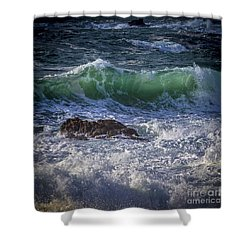 Swells In Doninos Beach Galicia Spain Shower Curtain