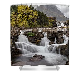 Swiftcurrent Falls In Autumn Shower Curtain
