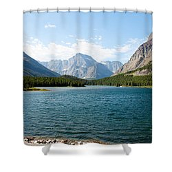 Swiftcurrent Lake Shower Curtain by John M Bailey