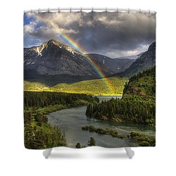 Swiftcurrent River Rainbow Shower Curtain