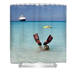 Swimming At A Caribbean Beach Shower Curtain by David Smith