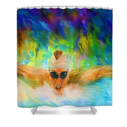 Swimming Fast Shower Curtain by Lourry Legarde