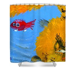 Shower Curtain featuring the painting Swimming Of A Yellow Cat by Marina Gnetetsky