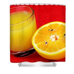 Swimming On Orange Little People On Food Shower Curtain by Paul Ge