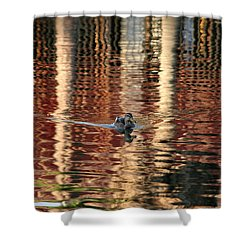 Swimming Over Reflections Shower Curtain