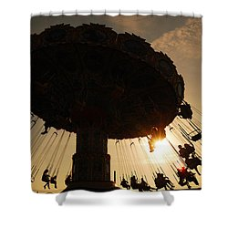 Swing Ride At Sunset Shower Curtain by James Kirkikis