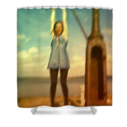 Shower Curtain featuring the photograph Swinging From Lampost  by Craig B