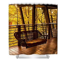 Swinging In Autumn Trees Original Photograph Shower Curtain by Jerry Cowart