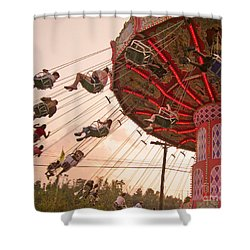 Swings At Kennywood Park Shower Curtain by Carrie Zahniser