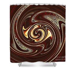 Swirl Design On Brown Shower Curtain by Sarah Loft