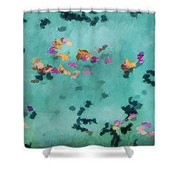 Swirling Leaves And Petals 5 Shower Curtain by Scott Campbell