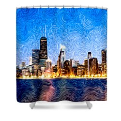 Swirly Chicago At Night Shower Curtain