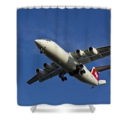 Swiss Air Bae 146 Shower Curtain by David Pyatt