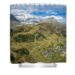 Swiss Alps Great View Towards Riederalp Aletsch Forest And Aletsch Glacier Shower Curtain by Matthias Hauser