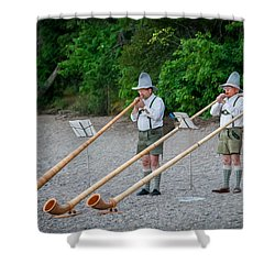 Swiss Alpine Horns Lake Mcdonald Glacier National Park Shower Curtain