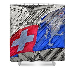 Swiss Flags  Shower Curtain by Mats Silvan