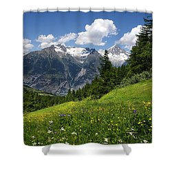 Shower Curtain featuring the photograph Switzerland Bietschhorn by Annie Snel