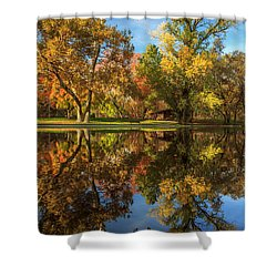 Sycamore Pool Reflections Shower Curtain by James Eddy