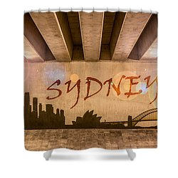 Sydney Graffiti Skyline Shower Curtain by Semmick Photo
