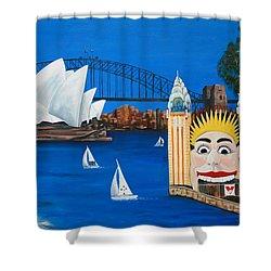 Sydneyscape - Featuring Luna Park  Shower Curtain by Lyndsey Hatchwell