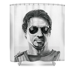 Sylvester Stallone - The Expendables Shower Curtain by Fred Larucci