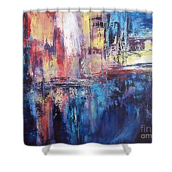 Symphony In Blue Shower Curtain by Valerie Travers
