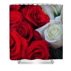 Da143 Symphony In Red And White By Daniel Adams Shower Curtain