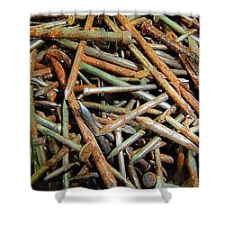 Symphony In Rusty Nails Shower Curtain by RC deWinter
