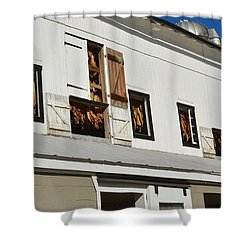 Syncopated Tobacco Barn Shower Curtain