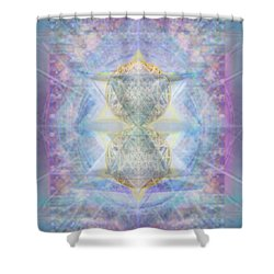 Synthecentered Doublestar Chalice In Blueaurayed Multivortexes On Tapestry Lg Shower Curtain