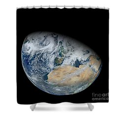 Synthesized View Of Earth Showing North Shower Curtain by Stocktrek Images