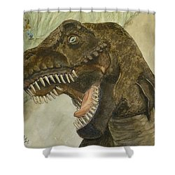 Shower Curtain featuring the painting T-rex..... Run by Kelly Mills