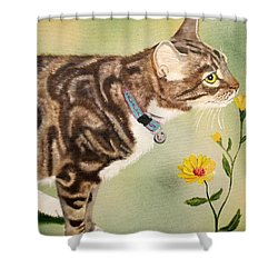 Tabby Shower Curtain by Debbie LaFrance