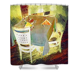 Table At The Fauve Cafe Shower Curtain by RC deWinter
