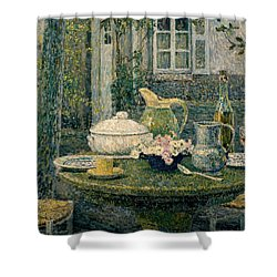 Table Laden For Spring Shower Curtain by Henry Eugene Le Sidaner