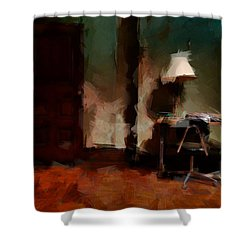 Table Lamp Chair Shower Curtain