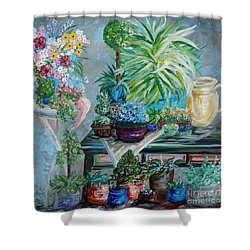 Table Of A Plant Lover Shower Curtain by Eloise Schneider