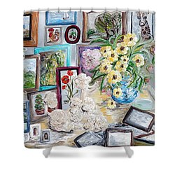 Table Of An Art Enthusiast Shower Curtain by Eloise Schneider