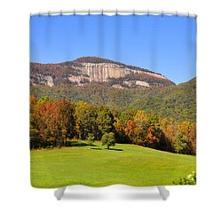 Table Rock In Autumn Shower Curtain by Lydia Holly