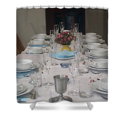 Table Set For A Jewish Festive Meal Shower Curtain by Ilan Rosen