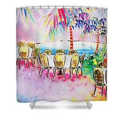 Tables On The Beach Shower Curtain