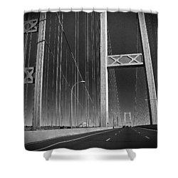 Tacoma Narrows Bridge B W Shower Curtain by Connie Fox