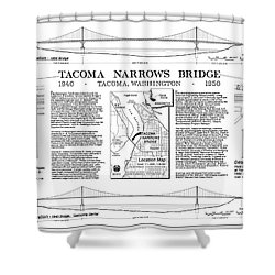 Tacoma Narrows Bridge Habs P1 Shower Curtain by Photo Researchers