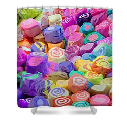 Taffy Candyland Shower Curtain by Alixandra Mullins