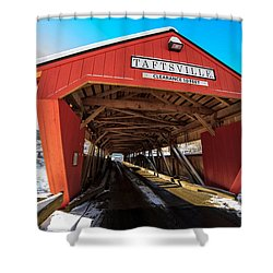 Taftsville Covered Bridge In Vermont In Winter Shower Curtain by Edward Fielding