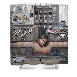 Tagging Shower Curtain by Anthony Falbo